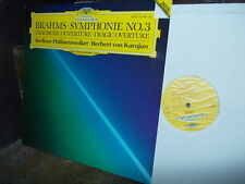BRAHMS: Symphony n°3 + Tragic Overture > Berlin Karajan /DG W-Germany digital LP