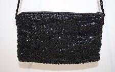Vintage Walborg Black Bead & Sequin Evening Bag Purse
