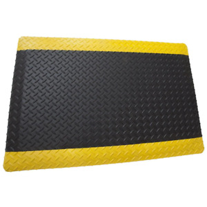 Commercial Mat 60 in. x 36 in. Anti-Fatigue Non-Slip Foam Backing Black Yellow
