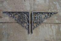 A pair of antique Victorian cobweb brackets cast iron wall shelf bracket AL24