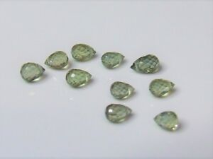 10 x Briolette green sapphire gemstones drilled and faceted