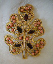 SWOBODA LEAF PIN ~ GEM STONES ~ CORAL, GARNET ~ INCREDIBLE!