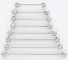 "2) 14g Steel 1.5"" Industrial Barbells 5mm Ball 1-1/2"" 38mm Long Bar Piercing Lot"