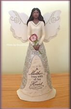 EBONY MOTHER ANGEL FIGURINE BY PAVILION ELEMENTS 8 INCHES FREE  U. S. SHIPPING