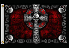 MOTORCYCLE CELTIC CROSS FLAG  (3' X 5')