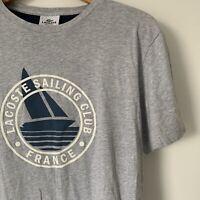 Mens Lacoste T Shirt Size 7 Regular Fit Short Sleeve Logo Crew Neck Grey Top