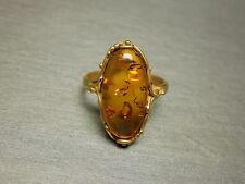 Vintage Estate C1970 Victorian Style Gold Sterling 925 Natural Amber Ring Sz 9