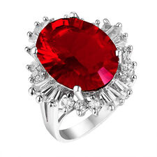 #1152 Fancy 5ct Ruby Red Millennium Cut Helenite Oval Sterling Silver Ring