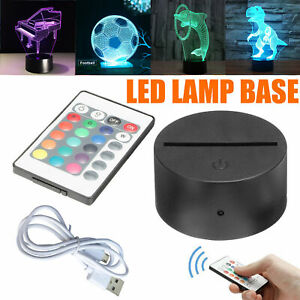 ABS Acrylic Black 3D Colorful Panel LED Lamp Night Base + USB Cable+Remote UK