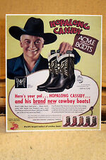 """Hopalong Cassidy """"ACME Cowboy Boots"""" Ad Poster Tabletop Display Standee 10 1/2"""""""