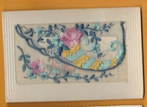 WW1 Embroidered silk postcard with card insert. Horn design.