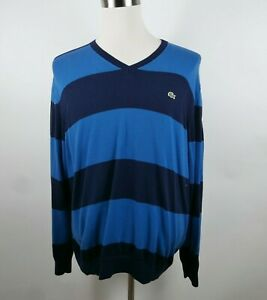 Lacoste Mens Cotton Long Sleeve V Neck Two Tone Blue Striped Sweater Size XL