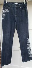 Chicos Platinum Women's  Floral Bling Rhinestones Embellished Jeans Size 0