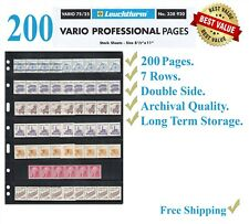 200 LIGHTHOUSE Vario 7s Stamp Album Pages 7 Rows Double Side Black Archival