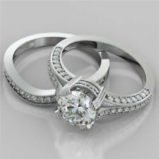 Certified 2.50Ct White Round Diamond Bridal Set Engagement Ring in14k White Gold