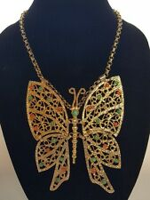 Huge Juliana Vtg Runway BUTTERFLY Articulated Necklace Jewelry signed DEC RARE