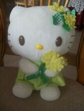 """12"""" HELLO KITTY SANRIO PLUSH 1978, 2008 READY FOR SPRING WITH BOQUET OF FLOWERS"""