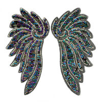 1 Pair Large Angel Wing Patches Sequin Sew on Applique Embroidery Clothes Decor