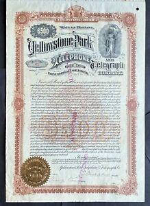 YELLOWSTONE PARK TELEPHONE & TELEGRAPH CO. Bond 1901. Montana.  BEAUTY RARE VF++