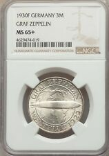 """GERMANY WEIMAR REP. 1930-F 3 REICHSMARK """"GRAF ZEPPELIN"""" COIN CERTIFIED NGC MS65+"""