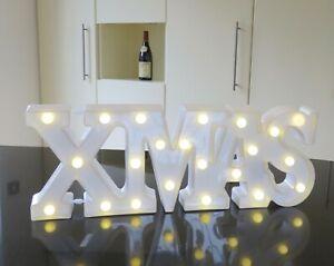 Xmas lightbox white plastic with bobbles built in LED lights overall 47 cm long