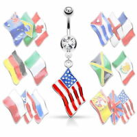 Flag Belly Ring 316L Surgical Steel Pierced Navel Naval Patriotic Country CZ Gem