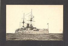 POSTCARD:  HMS MAJESTIC: BRITISH ROYAL NAVY PRE-DREADNOUGHT BATTLESHIP - Writing