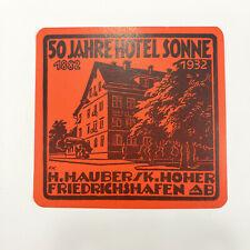 1932 Hotel Sonne Vintage Luggage Label Friedrichshafen Germany German Travel