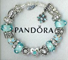 Authentic Pandora Silver Bracelet with Heart Love Aqua Blue Gift European Charms