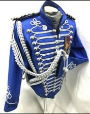 "Men's Military Gold Hussar Ink Blue Officers Jacket 42,44"",46""Epaulettes/A"