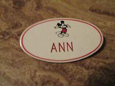"DISNEY MICKEY MOUSE CAST MEMBER EMPLOYEE NAME TAG ""ANN""  DISNEYLAND ""ANN"""