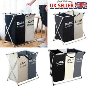 Laundry Cloth Hamper Sorter Basket Bin 2 Sections Laundry Bag Storage Clothes UK