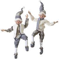 RAZ Imports Posable Elves Cozy Knits Christmas Gray and White Plaid - Set of 2