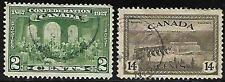 1927 - 2 Canada  Fathers of Confederation Issue brown, Scott #s 142  &14c stamps