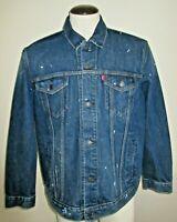 Levi's Mens Bastow Blue Denim Trucker Jean Jacket Paint Splatter Size 2XL NWT