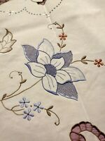 """Amazing Elaborately Embroidered & Cutwork Colored Madeira Tablecloth 98 x 70"""""""