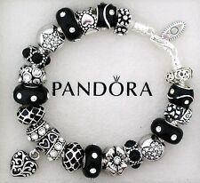 Authentic Pandora Bracelet Black Heart Love Flower Gift New European Charms