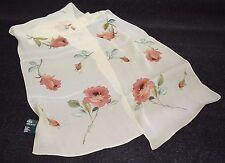 "RALPH LAUREN 100% Silk Rose Flower Scarf 59 1/2""x 11"" - Made In Japan"