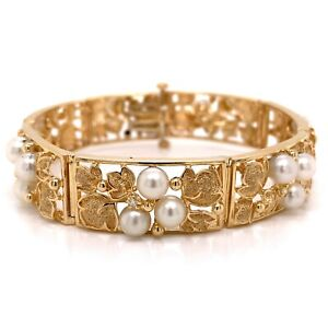 VTG 14K Yellow Gold, 5.5mm Akoya Pearl & .14ctw Diamond Panel Bracelet! 142