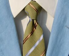 Luciano Barbera Olive, Brown & Blue Striped LONG Silk/Cotton Tie Italy - $235.00