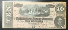 1864 $10 Us Confederate States of America! Old Us Currency! Old Us! Choice Fine