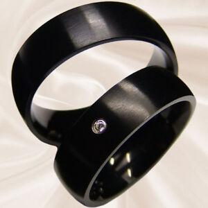 schwarze Eheringe Hochzeitsringe Partnerringe Verlobungsringe 7 mm mit Gravur
