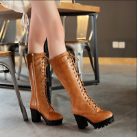 Womens Lace Up Knee High Boots Chunky Heels Platform Shoes Side Zip Lace Up F549