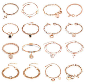 New Women Titanium Rose Gold Heart Bracelet Chain Wristband Bangle Collections