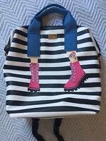 Luv Betsey Johnson Black/White Pink Boots Multi-Compartment Backpack Bag Purse