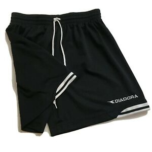 Diadora Youth Soccer Shorts Size M Black White Stripe Vintage 90s