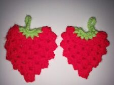 Two Hand Knitted/Crocheted Hanging/Decorations  Strawberry 8cm