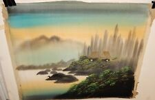 Vintage Japanese River Village Fisherman Watercolor On Silk Painting Signed