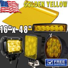 "16"" x 48"" Gold Yellow Vinyl Tint Film For 18W 27W 120W LED Work Light Headlight"