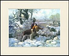 ENGLISH SPRINGER SPANIEL WINTER SCENE GREAT DOG PRINT MOUNTED READY TO FRAME